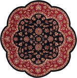 LR Resources Shapes 10752 Black/Red Hand Woven Area Rug 5' Scallop