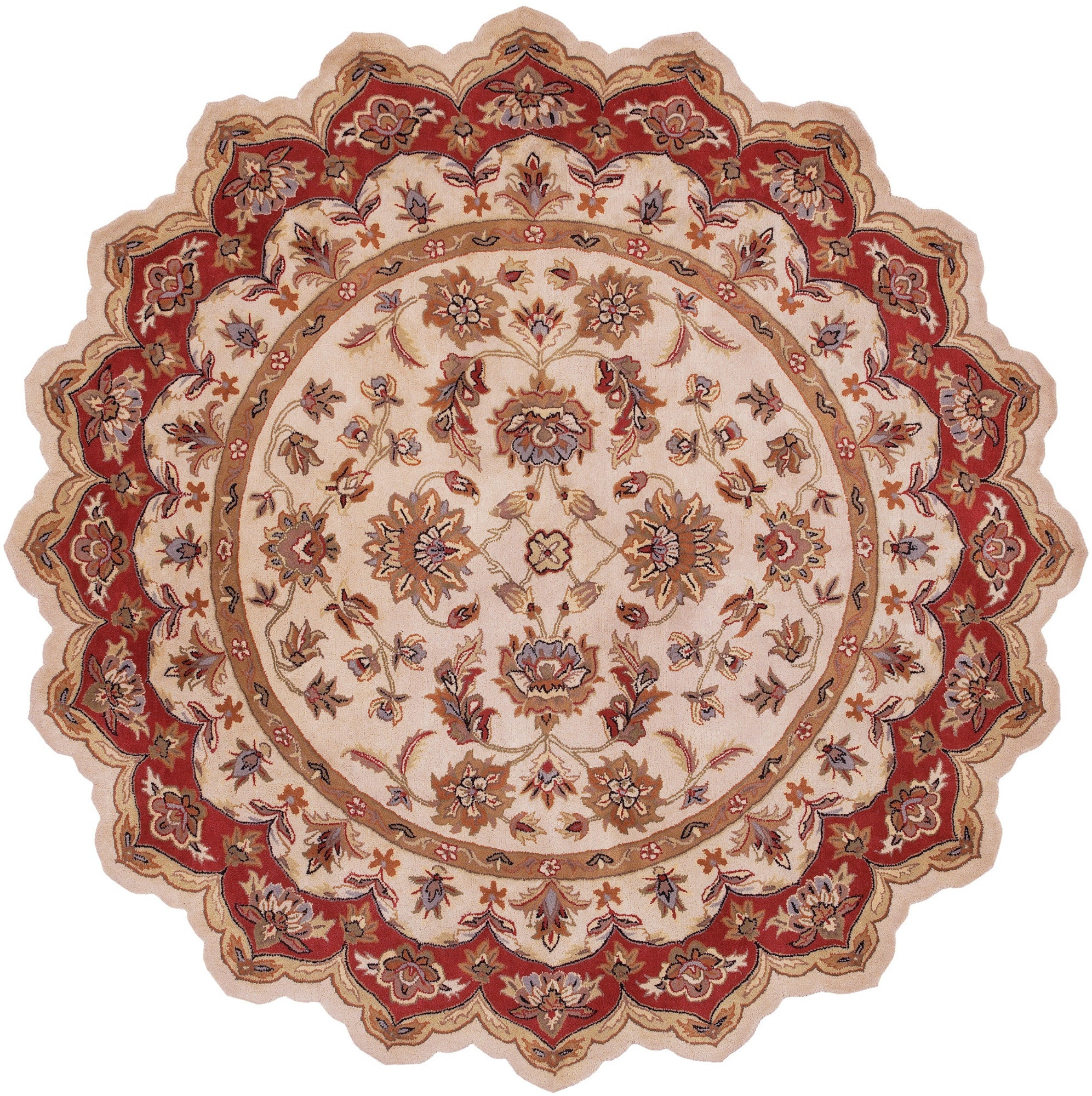 LR Resources Shapes 10757 Ivory/Red Area Rug