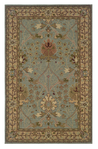 Linon Soumak RUG-SLSG82 Ice Blue/Pale Gold Area Rug main image
