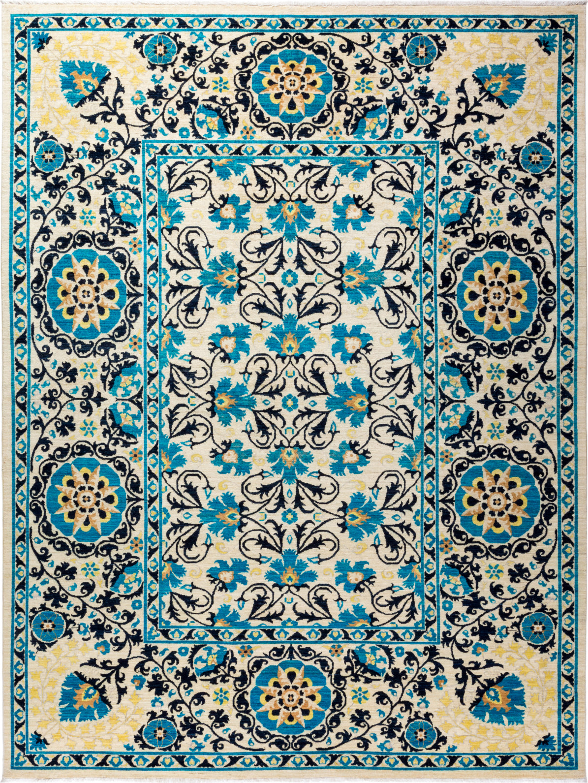 Solo Rugs Floral M1910-648 Blue Area Rug main image