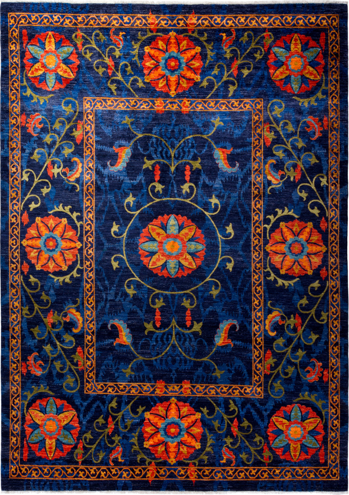 Solo Rugs Floral M1910-649 Blue Area Rug main image