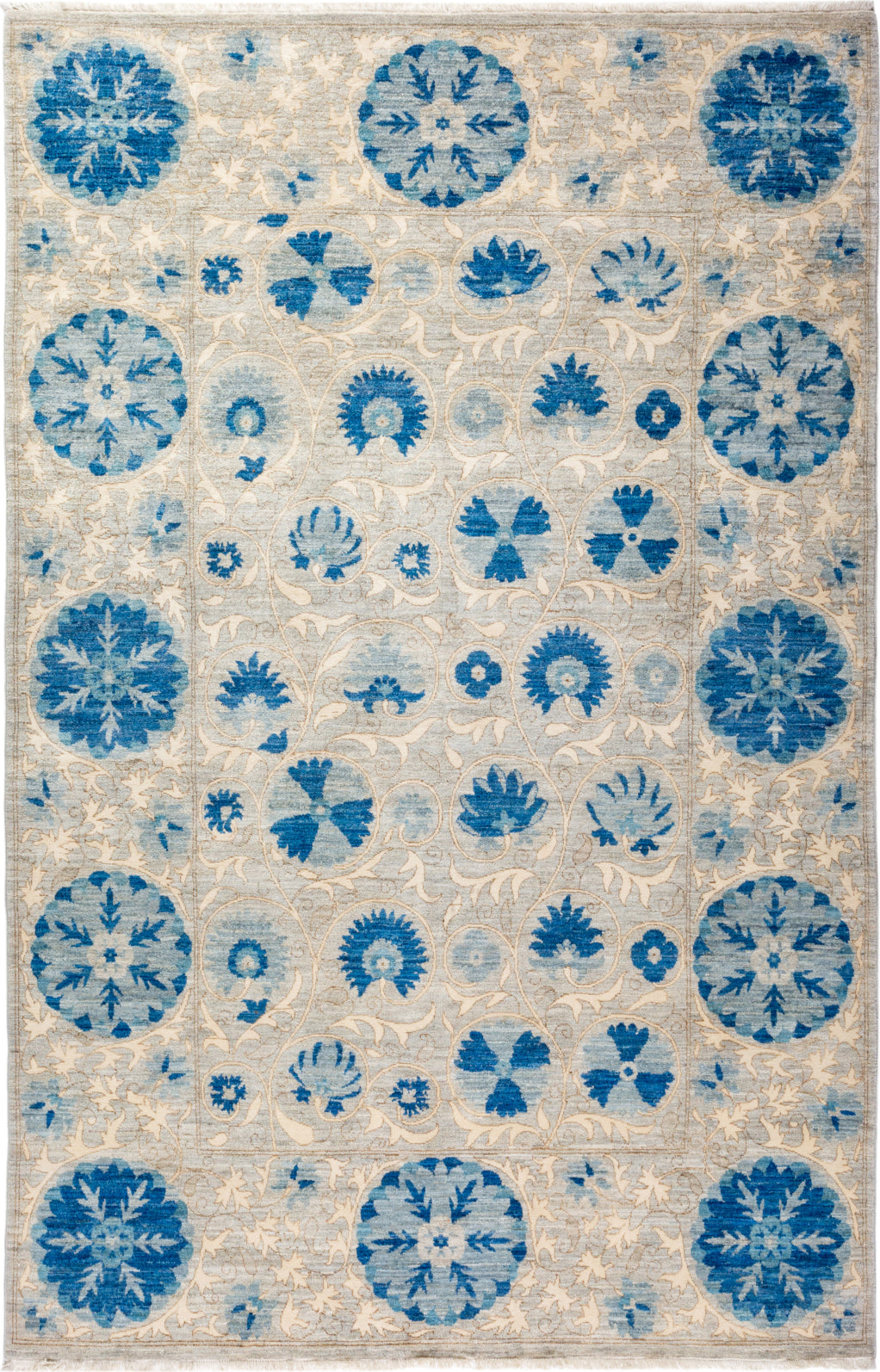 Solo Rugs Floral M1910-653 Light Blue Area Rug main image