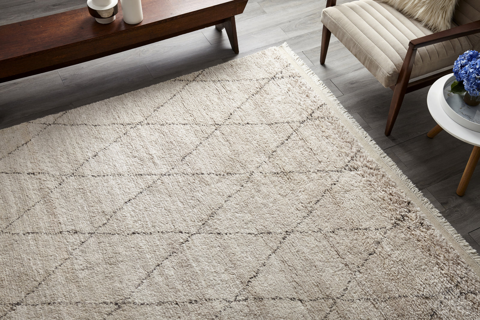 Solo Rugs Shaggy Moroccan S1121 Linen Area Rug main image