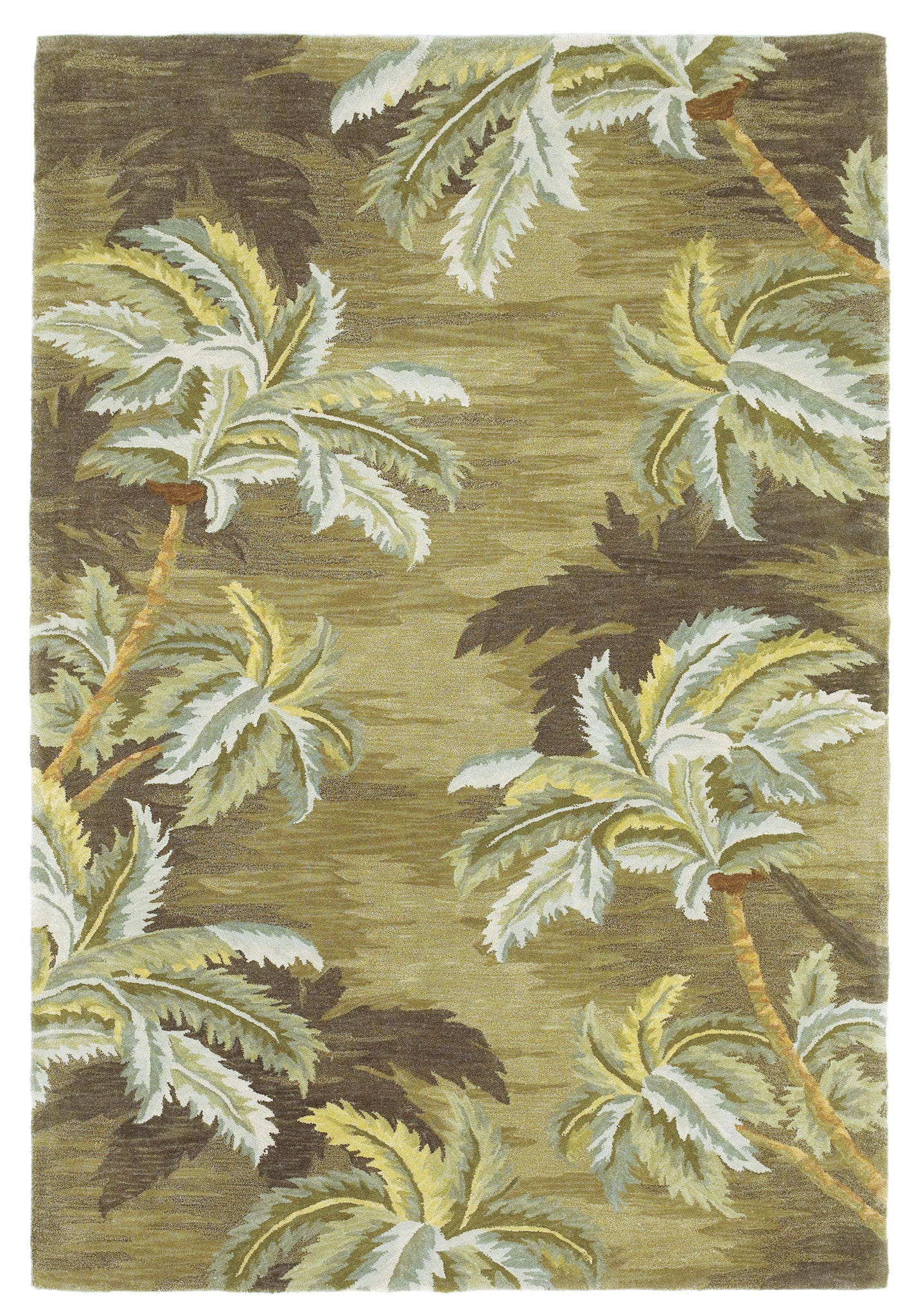 KAS Sparta 3102 Moss Palm Trees Hand Tufted Area Rug