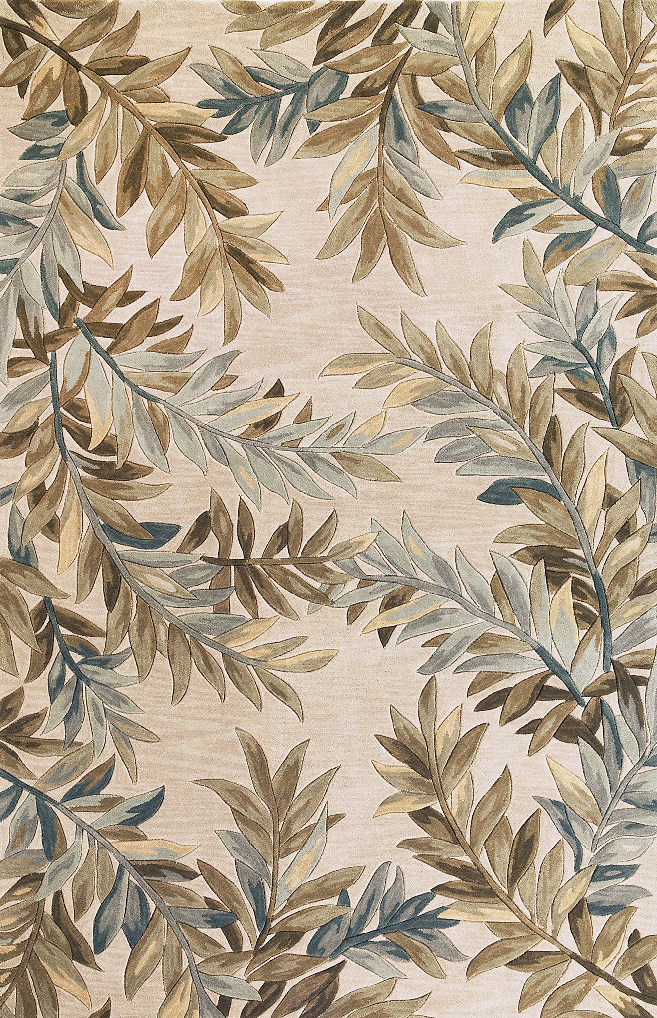KAS Sparta 3126 Ivory Tropical Branches Hand Tufted Area Rug