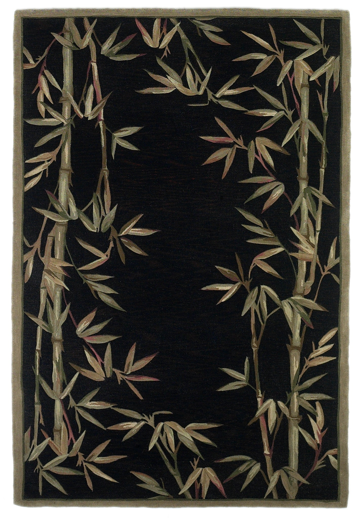 KAS Sparta 3147 Black Bamboo Border Hand Tufted Area Rug