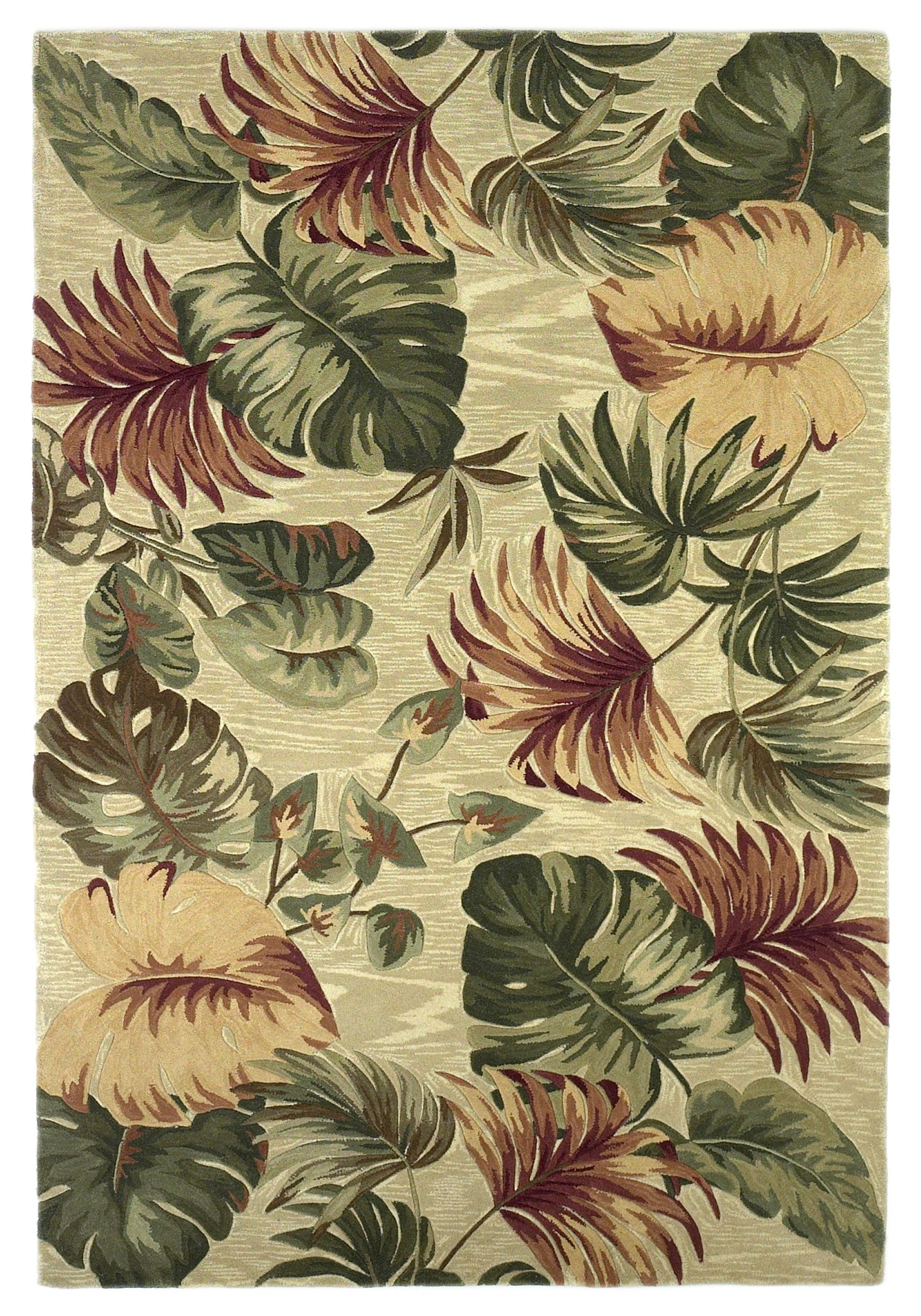 KAS Sparta 3148 Beige Palm Leaves Hand Tufted Area Rug