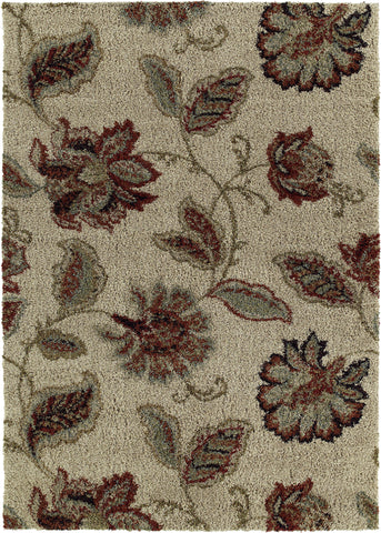 Mayberry Shaggy Supreme SS8042-Floral Farland Cr�me Area Rug