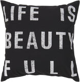 Surya Typography Life is Beauty ST-082 Pillow