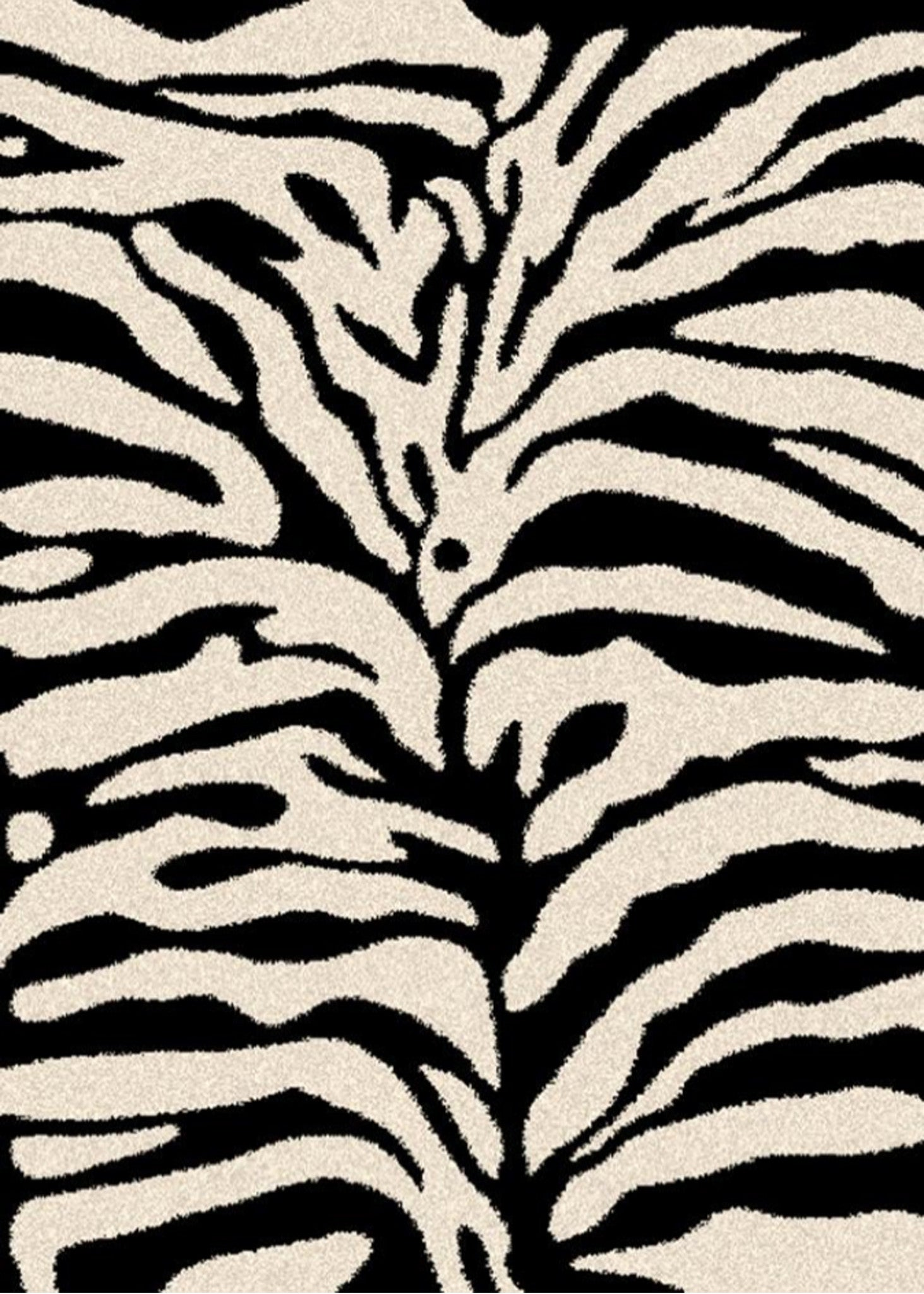 Mayberry Super Shag SUPS1352-Zebra Cream/Black Area Rug