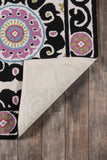 Momeni Suzani Hook SZI-1 Black Area Rug Room Scene