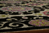 Momeni Suzani Hook SZI-1 Black Area Rug Closeup