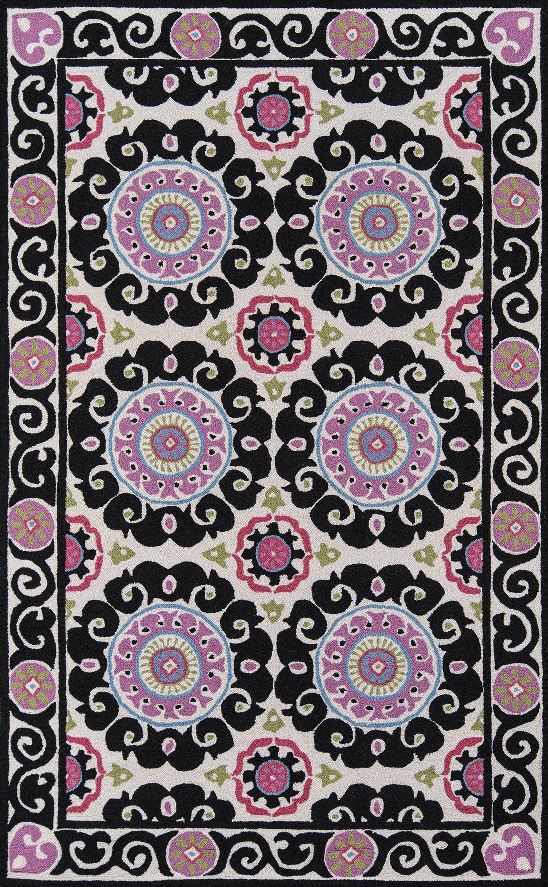 Momeni Suzani Hook SZI-1 Black Area Rug main image
