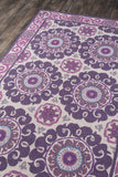 Momeni Suzani Hook SZI-1 Purple Area Rug Corner Shot