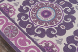 Momeni Suzani Hook SZI-1 Purple Area Rug Closeup