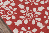 Momeni Suzani Hook SZI-4 Red Area Rug Closeup