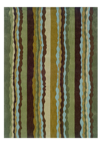 Linon Trio RUG-TA066 Green/Spa Blue Area Rug main image