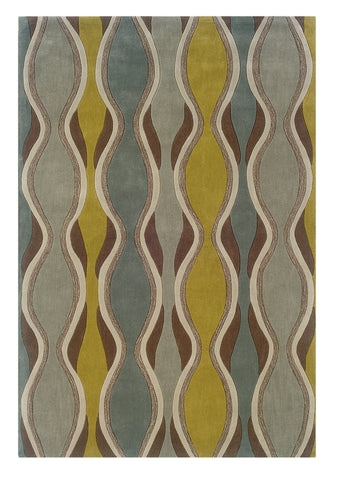 Linon Trio RUG-TAB009 Chocolate/Spa Blue Area Rug main image