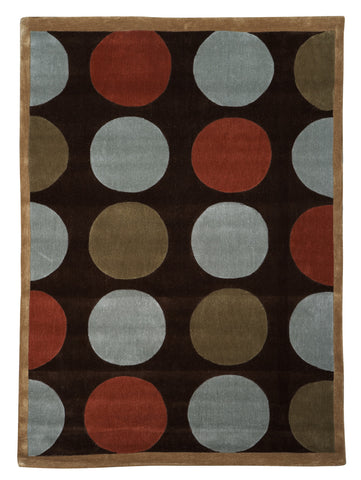 Linon Trio RUG-TAB201 Brown/Pale Blue Area Rug main image