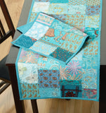 LR Resources TABLE LINENS 18007 Turquoise 13 X 19