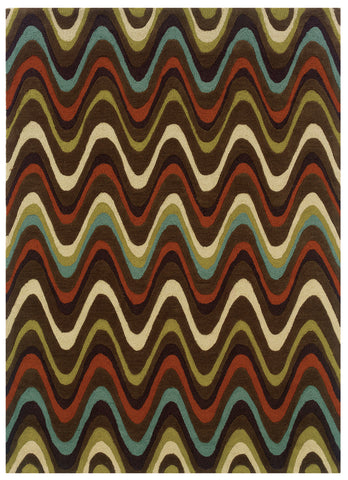 Linon Trio RUG-TAE09 Brown/Multi Area Rug main image