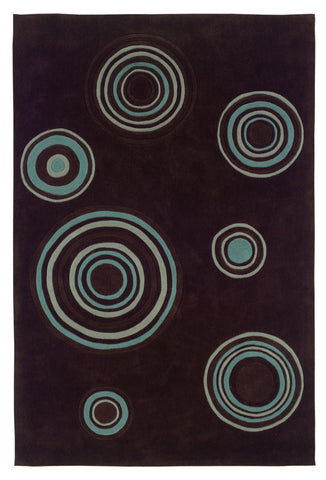 Linon Trio RUG-TARD10 Chocolate/Spa Blue Area Rug main image