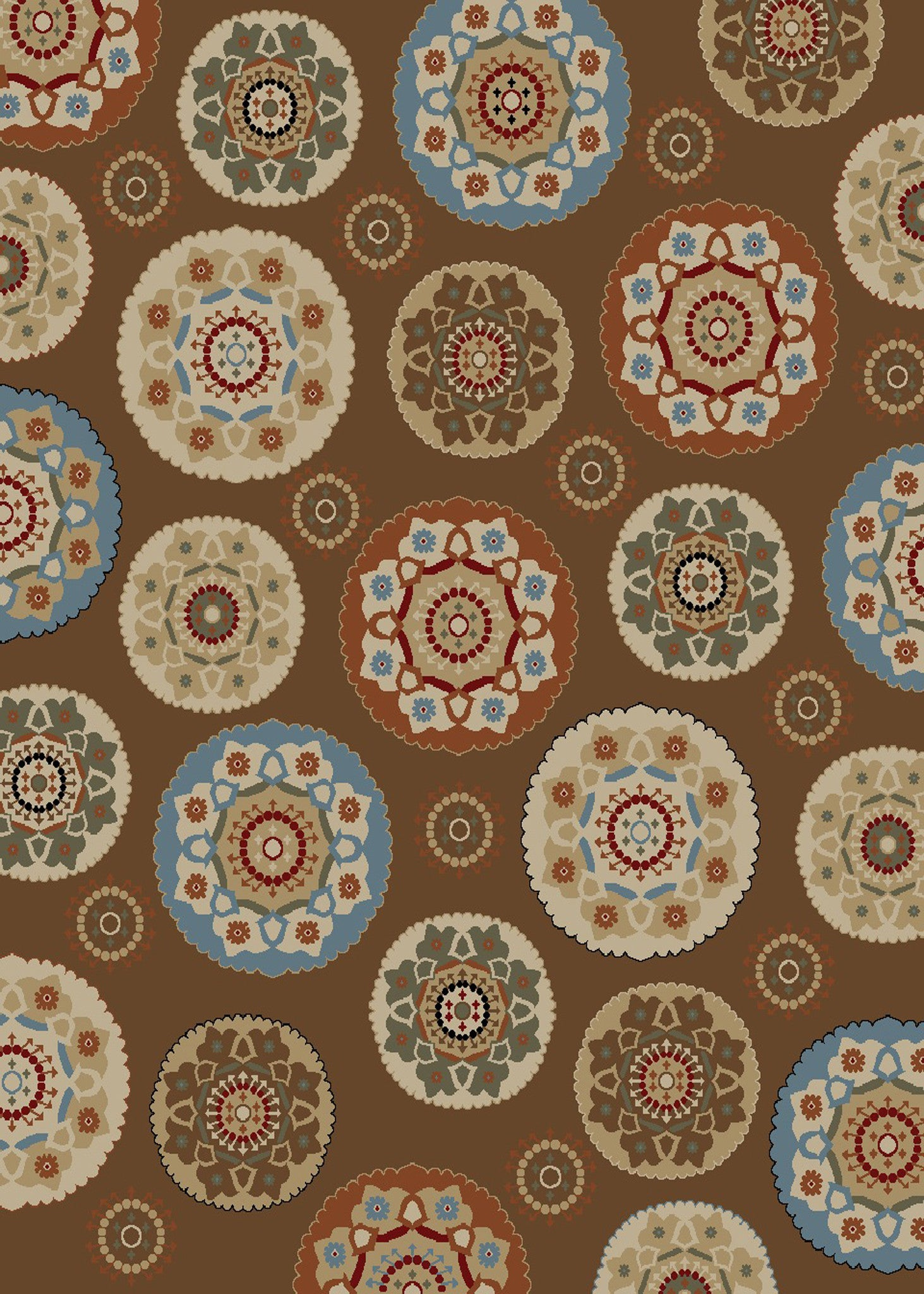 Mayberry Timeless TL3658-Deco Pinwheel Chocolate Area Rug