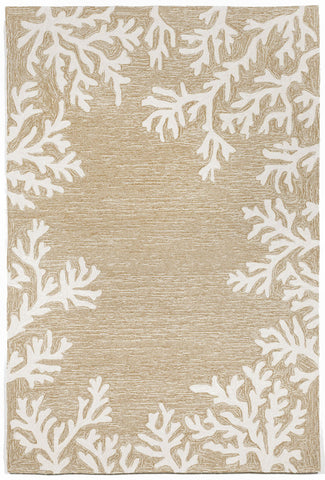 Trans Ocean Capri Coral Border Natural Area Rug by Liora Manne main image