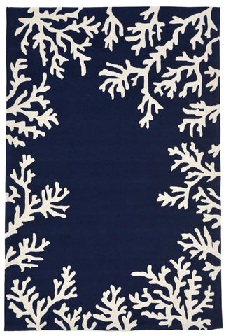 Trans Ocean Capri Coral Border Navy Area Rug by Liora Manne main image