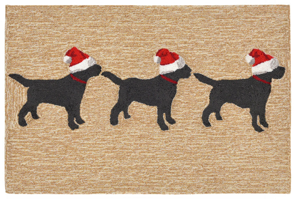 Trans Ocean Frontporch 3 Dogs Christmas Natural Area Rug main image