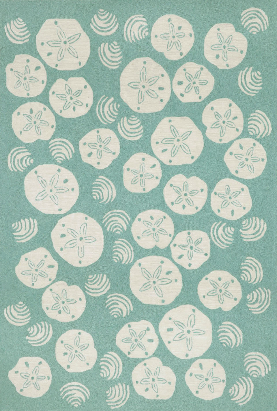 Trans Ocean Frontporch Shell Toss Blue Area Rug by Liora Manne main image