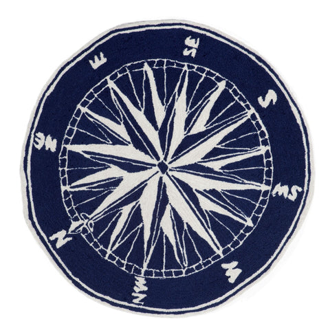 Trans Ocean Frontporch Compass Navy Area Rug by Liora Manne main image