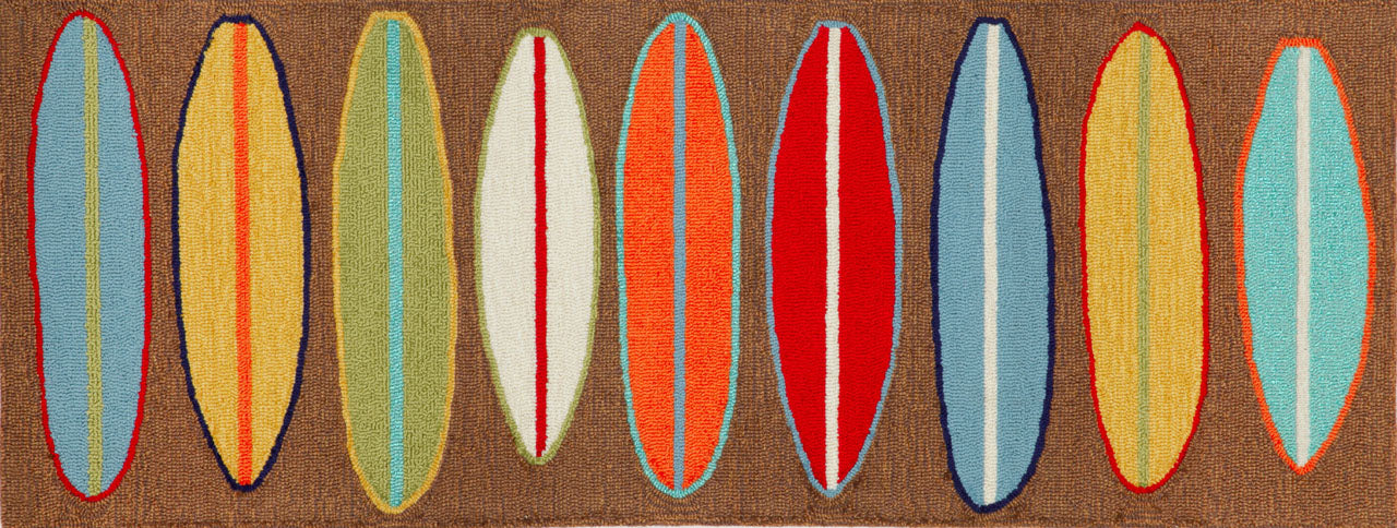 Trans Ocean Frontporch Surfboards Brown Area Rug by Liora Manne main image