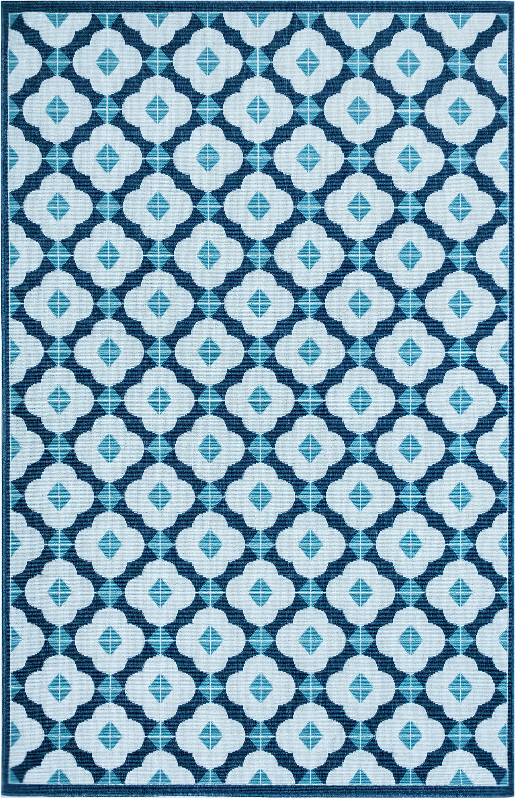 Trans Ocean Riviera Modern Tile Navy Area Rug Mirror by Liora Manne main image