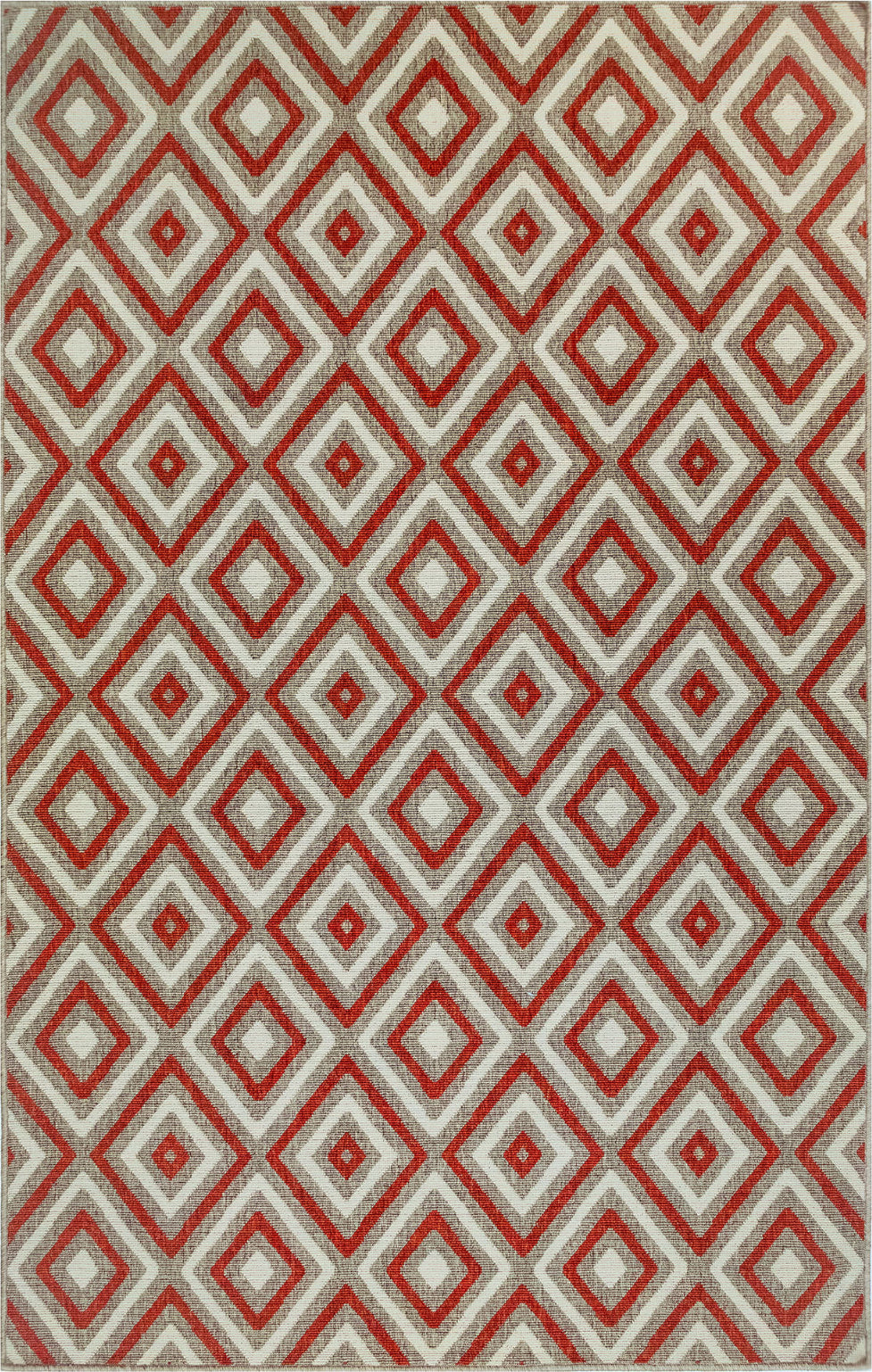 Trans Ocean Riviera Nested Diamond Red Area Rug Mirror by Liora Manne main image