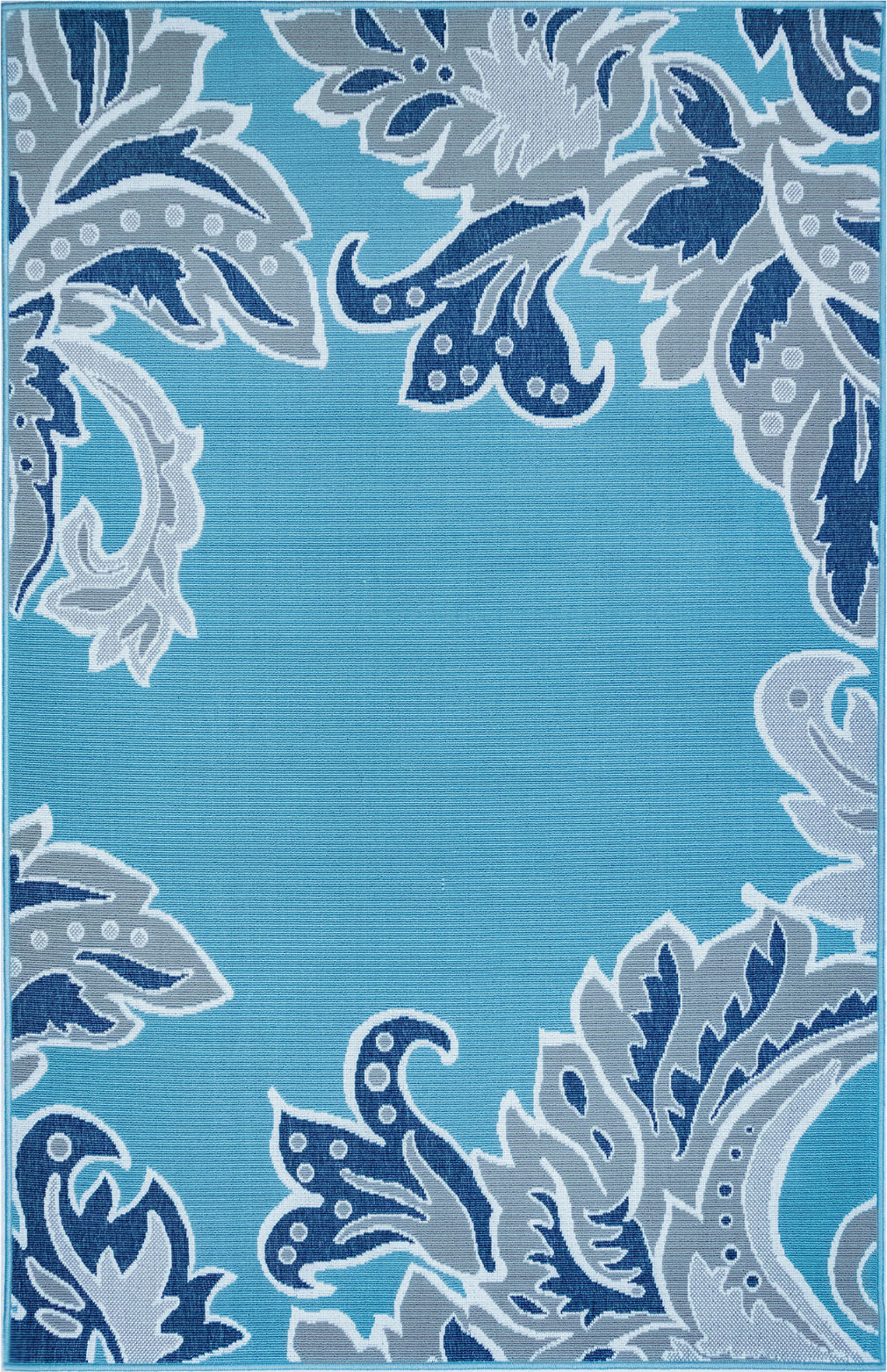 Trans Ocean Riviera Ornamental Leaf Cool Area Rug Mirror by Liora Manne main image