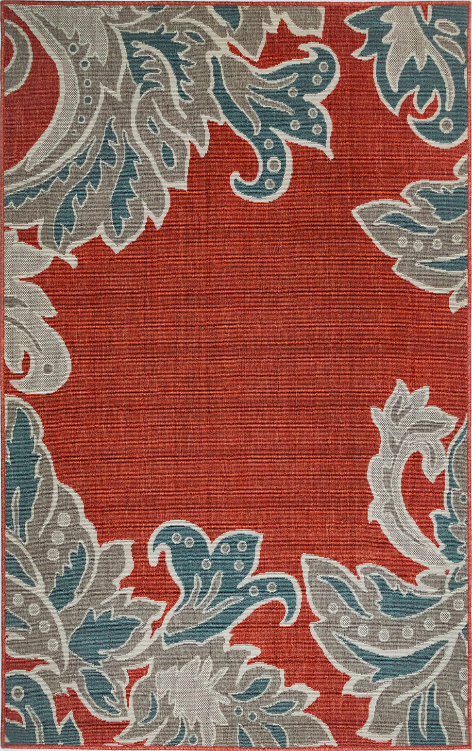 Trans Ocean Riviera Ornamental Leaf Red Area Rug Mirror by Liora Manne main image