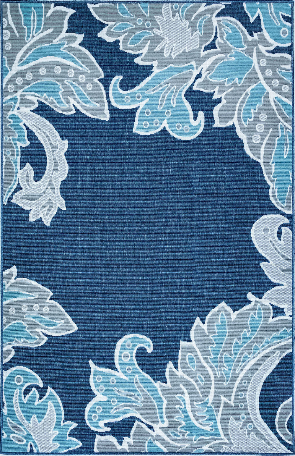 Trans Ocean Riviera Ornamental Leaf Navy Area Rug Mirror by Liora Manne main image