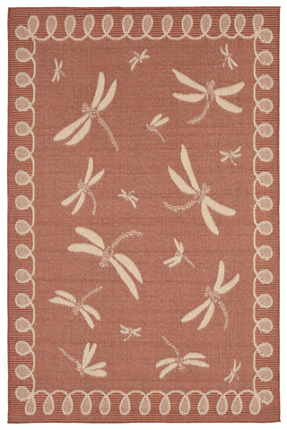 Trans Ocean Terrace Dragonfly Rust Area Rug main image