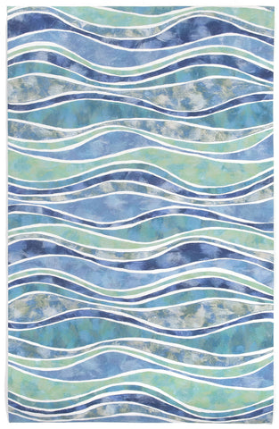 Trans Ocean Visions III Wave Blue Area Rug main image