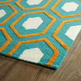 Kaleen Trends TRN03-91 Teal Area Rug Close-up Shot