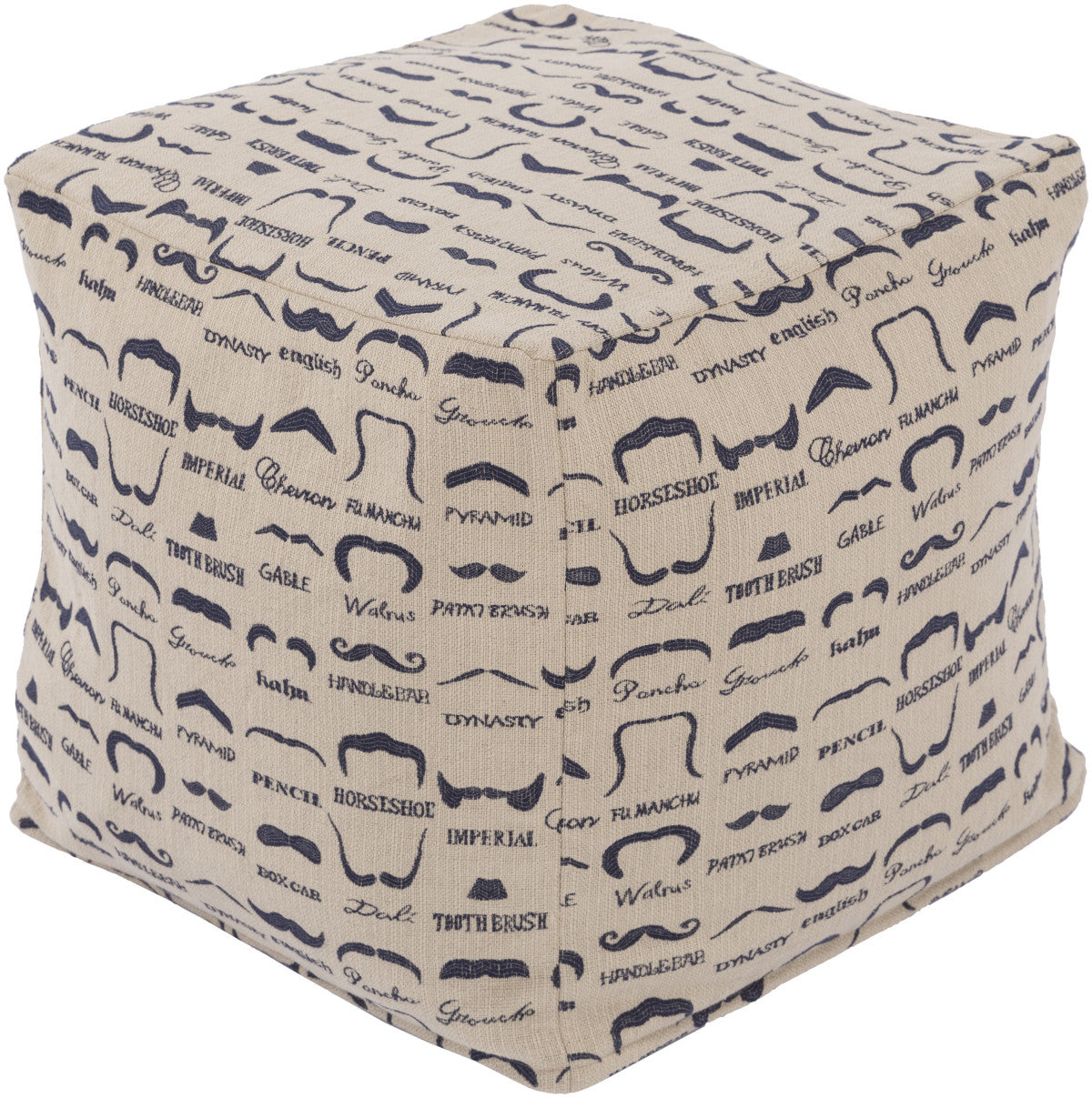 Surya Wax That Stache WSPF-004 Neutral Pouf by Mike Farrell