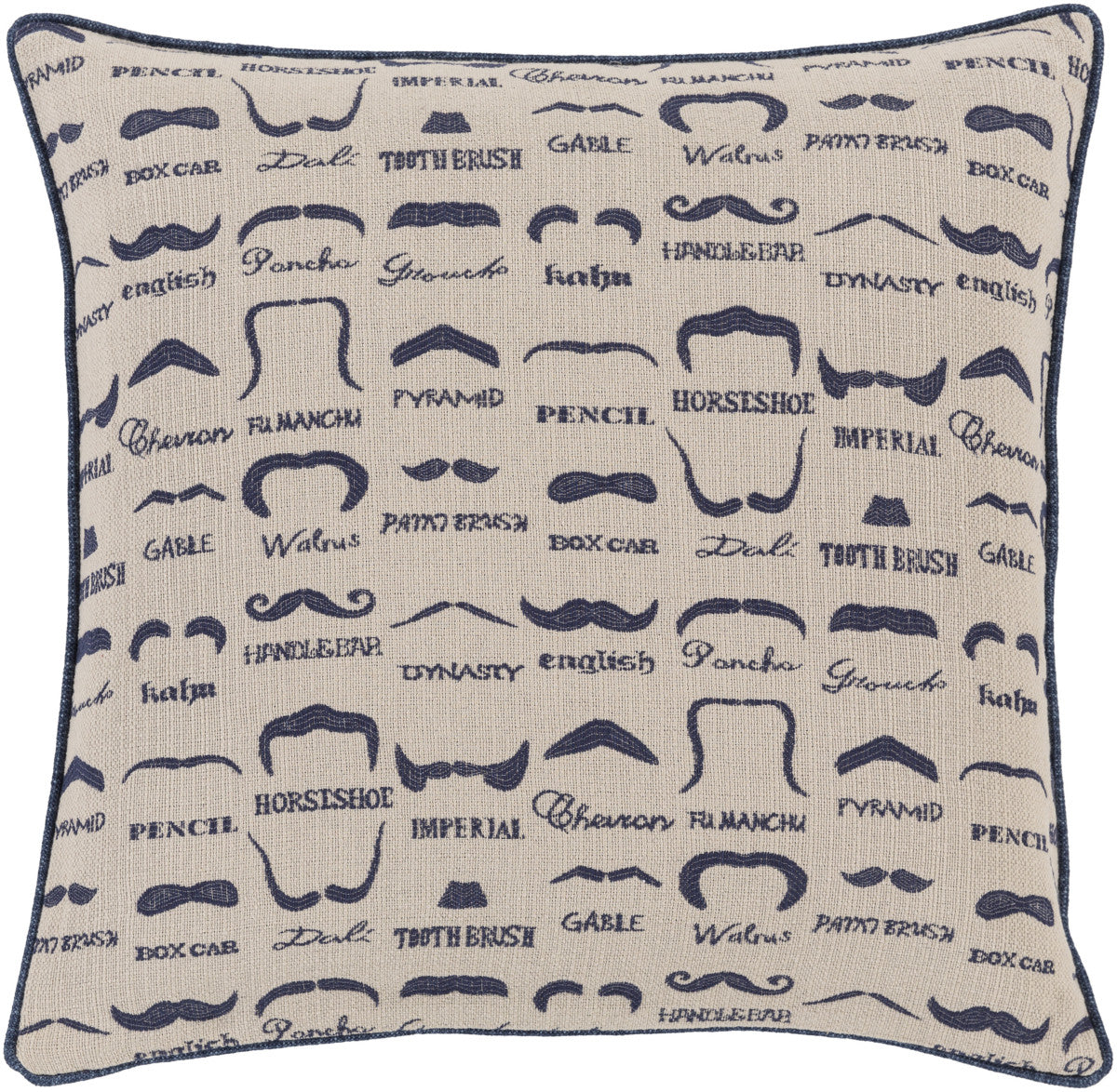 Surya Wax That Stache Mustache WTS-004 Pillow by Mike Farrell