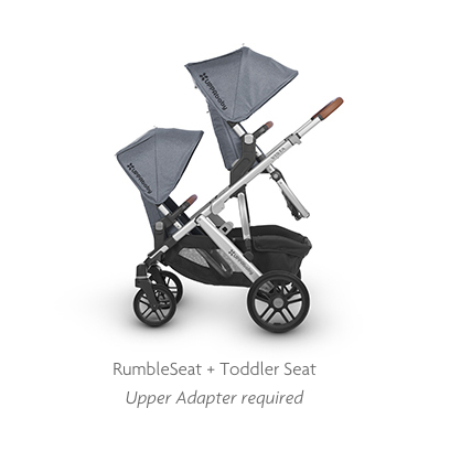 UPPAbaby Vista toddler and rumbleseat parent facing double configuration