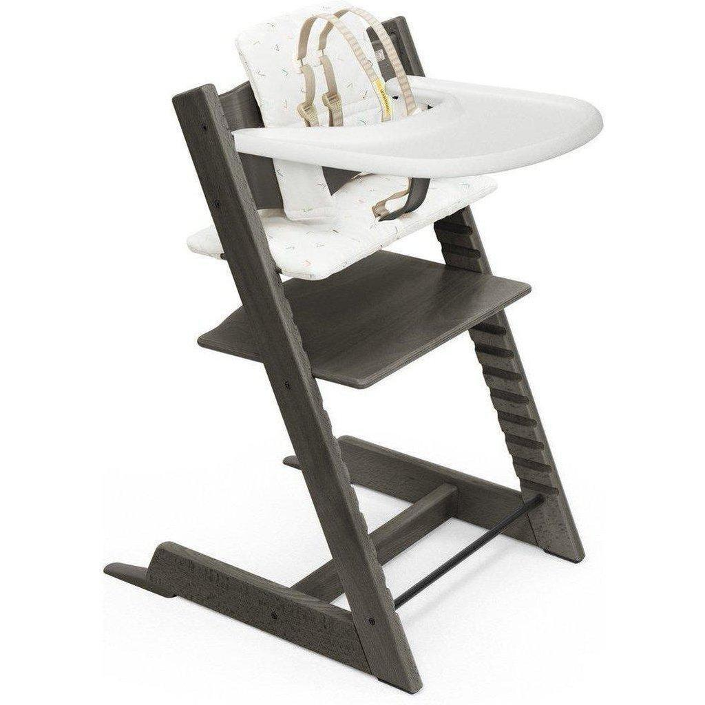 Includes Baby Seat with Harness, Icon Grey Cushion and White Tray Tripp Trapp by Stokke Adjustable Wooden White Baby High Chair