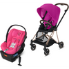 Cybex Mios2 and Cloud Q Plus with SensorSafe Travel System-Fancy Pink / Passion Pink-519003709 / 519003947-Strolleria