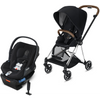 Cybex Mios2 and Cloud Q Plus with SensorSafe Travel System-Premium Black / Stardust Black-519003353 / 519003939-Strolleria