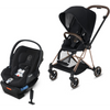 Cybex Mios2 and Cloud Q Plus with SensorSafe Travel System-Premium Black / Stardust Black-519003369 / 519003939-Strolleria