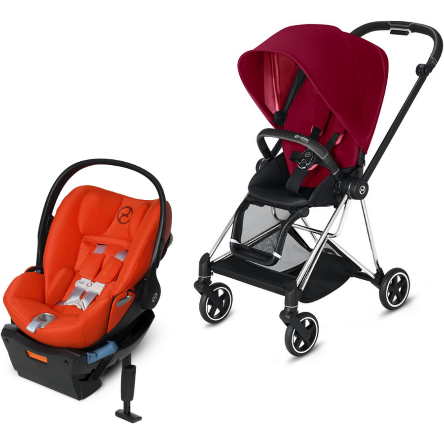 Cybex Mios2 and Cloud Q Plus with SensorSafe Travel System-True Red / Autumn Gold-519003359 / 519003945-Strolleria