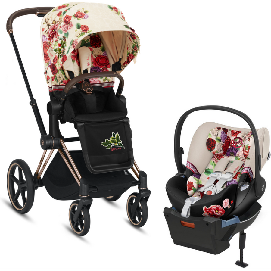 Cybex Priam3 and Cloud Q Travel System - Spring Blossom-Dark-519003979 / 519003263 / 519004369-Strolleria